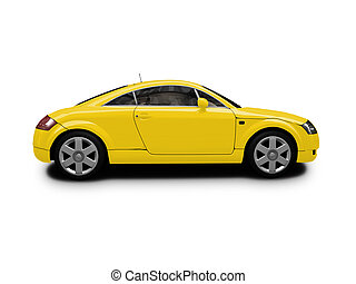 isolated yellow car side view - isolated sport car on white ...