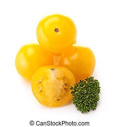 isolated yellow cherry tomato