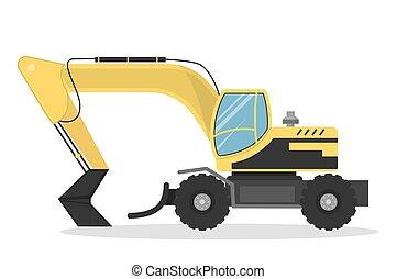 Isolated yellow excavator.