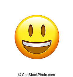 Isolated yellow smiling face with upper white teeth icon - ...