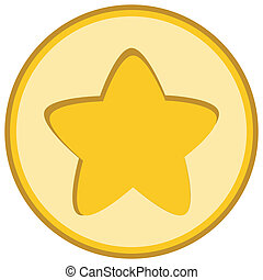 Isolated yellow star icon, ranking mark