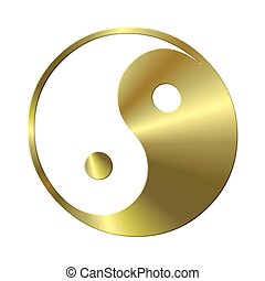 isolated ying yang sign gold