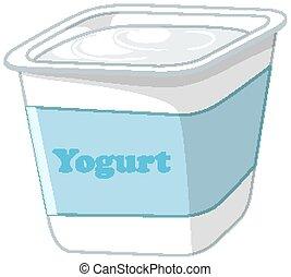 Isolated yogurt on white background