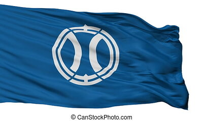 Isolated Yotsukaido city flag, prefecture chapter, Japan -...