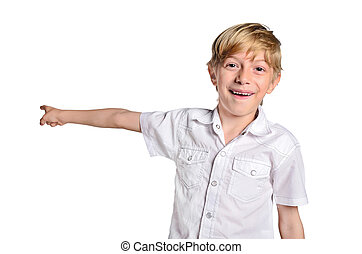 young boy pointing