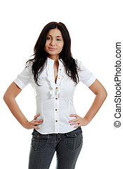 isolated Young hispanic woman with hands on hips