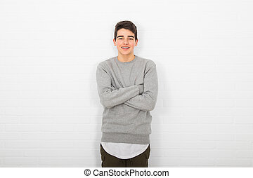 isolated young man on background
