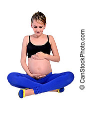 Isolated young pregnant woman