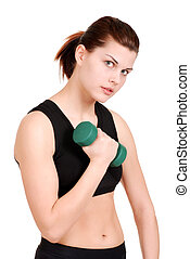 young woman with green free weight