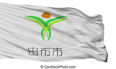 Isolated Yufu city flag, prefecture Oita, Japan - Yufu flag,...