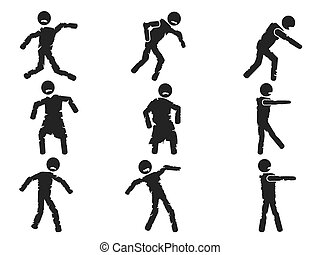 zombie stick figure set - isolated zombie stick figure set...