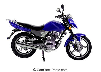 isolated_motorbike - black and blue off-road bike isolated...