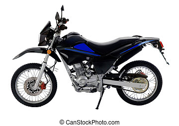 isolated_off-road_bike - black and blue off-road bike...