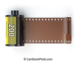isolateed, photo, boîtes métalliques, appareil-photo 35mm, white., pellicule