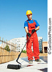 isolatie, aannemer, werken, arbeider, dak