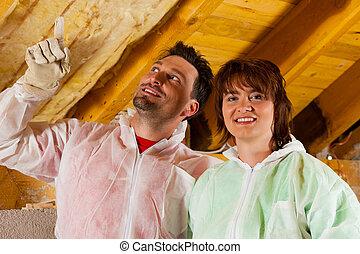 isolatie, paar, installeren, dak, thermisch