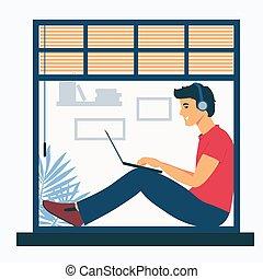 isolation., 人, 遙遠, 基石, laptop., 听, 套間, 插圖, freelance., 坐, 工作, 被隔离, 白色, 朋友, 窗口, music., 人, 聊天, 自由職業者
