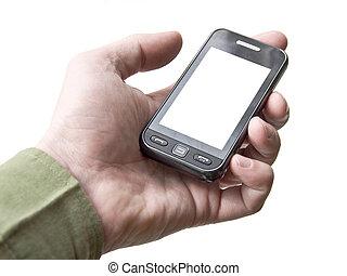 isolation., 電話, スクリーン, 手, 細胞, バックグラウンド。, device., 保有物, touchscreen., 白