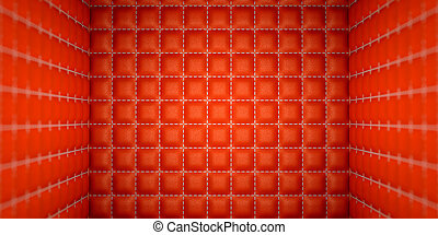 Isolation and segregation: Red stitched leather mattresses