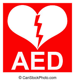 Isolation of a red AED Sticker - Isolation of a red AED ...
