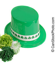 Isolation of a St. Patrick's Day hat with green carnations -...