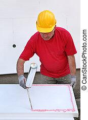 isolation, site, construction, colle, styrofoam