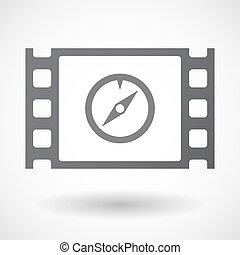 isolato, 35mm film, cornice, con, uno, bussola