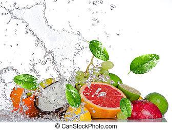 isolato, acqua, schizzo, frutte, fresco, bianco
