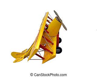 isolato, aereo giocattolo, fatto, di, colorito, legno,...