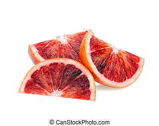 isolato, affettato, sangue, fondo, arancia, bianco