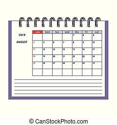 Pagina Calendario Agosto 2019.Calendario Scrivania Mockup Pianificatore Ufficio Affari