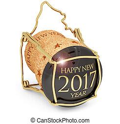 isolato, Anno, nuovo,  2017,  champagne, sughero