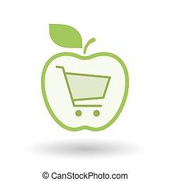 isolato, art linea, mela, icona, con, uno, carrello