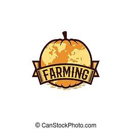 isolato, astratto, colore arancia, rotondo, forma, zucca, logotipo, bianco, fondo, agricoltura, logotype, verdura, insolito, globo, vettore, illustrazione