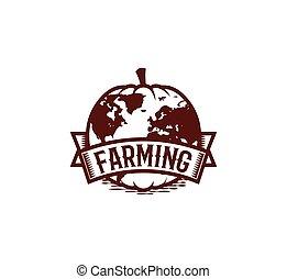 isolato, astratto, marrone, colorare, rotondo, forma, zucca, logotipo, bianco, fondo, agricoltura, logotype, verdura, insolito, globo, vettore, illustrazione