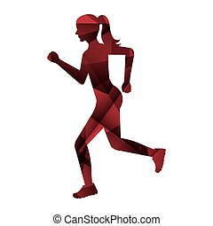 isolato, atleta, correndo, icona