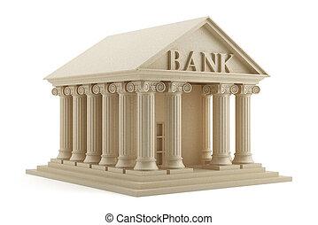 isolato, banca, icona