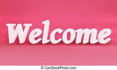 isolato, benvenuto, parola, rendering., lettere, 3d, rosa, fondo.