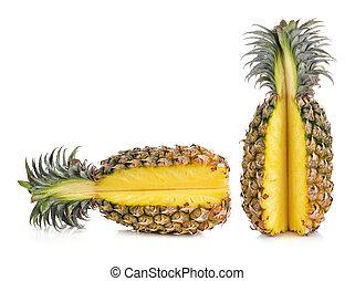 isolato, bianco, maturo, ananas