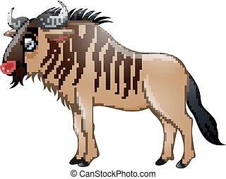 isolato, bisonte, fondo, bianco, cartone animato, felice