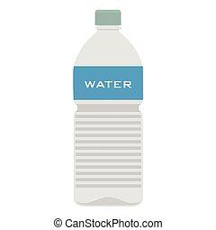 isolato, bottiglia, acqua, fondo, plastica, bianco