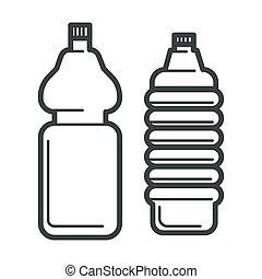 isolato, bottiglie acqua, icone, plastica, minerale, contenitore
