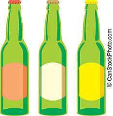 isolato, bottiglie birra, set