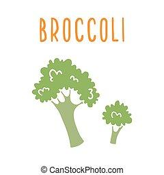 isolato, broccolo, white.