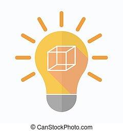 isolato, bulbo, segno, luce, cubo