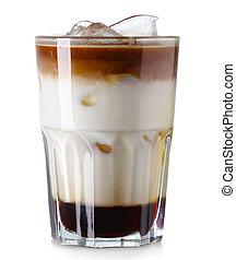 isolato, caffè ghiacciato, vetro, bianco
