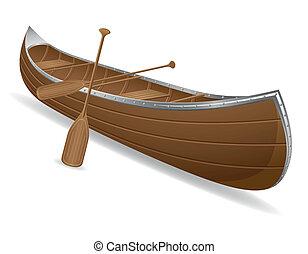 isolato, canoa, illustrazione, vettore