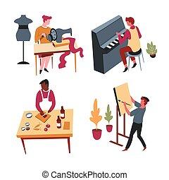 isolato, caratteri, o, arte, casa, attività, ozio, hobby,...