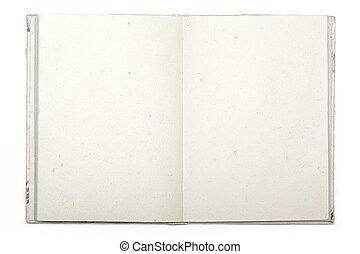isolato, carta, diario, giappone bianco, aperto