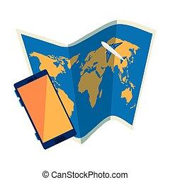 isolato, carta, smartphone, icona, mappa